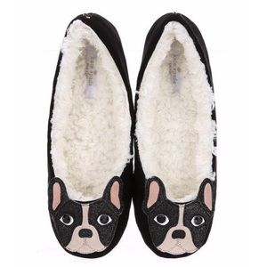 Kate Spade Black French Bulldog Shearling Slippers